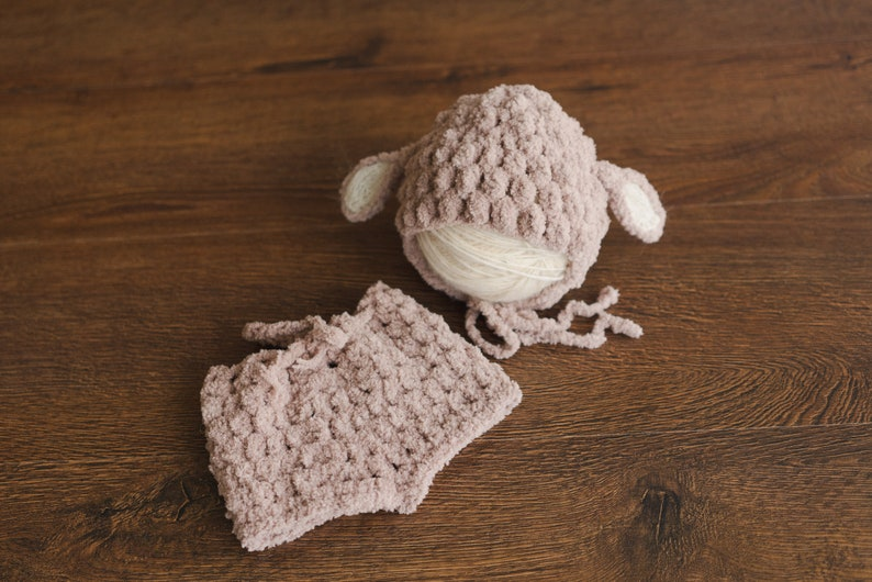 Newborn Sheep Outfit,Newborn Knitted outfit,Newborn hat,Newborn props set,Newborn Photography props,Newborn sheep toy,First Birthday Outfit