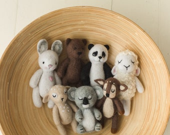 Newborn Photography Felt Toy, Felted Animals Photo Props, Felt Stuffed Teddy Bear Newborn Photo Props, Felt Bunny Newborn photography props