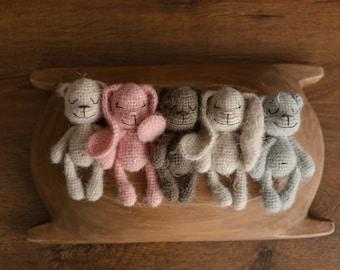 Newborn Knitted Teddy Bear and Bunny Photography Props, Baby Bear Crochet Toy, Newborn Stuffed Animal Toy,Newborn Knitted Toy Bear and Bunny