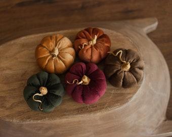 Newborn Velvet Pumpkins Toys,Newborn Pumpkin Decor,Newborn Photography Props Set,Newborn Photo Props,Brown Velvet Pumpkins Fall Decor Autumn