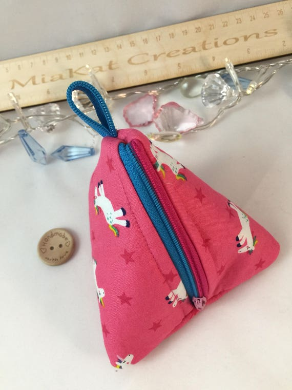 Handmade personalised Cat kids childrens coin purse wallet boy girl