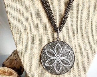 Gunmetal Lotus Necklace on Gunmetal Chain