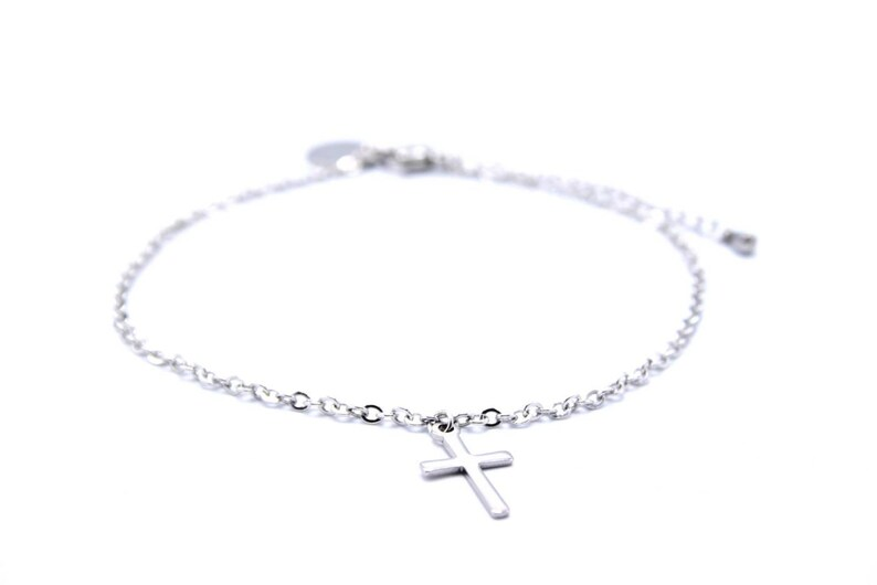 Stainless steel anklet small cross silver ankle bracelet