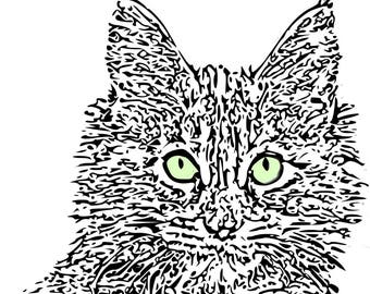 Adult Coloring Pages Cat PagesInstant Download Printable Art For Adults Maine Coon SvgArt Therapy