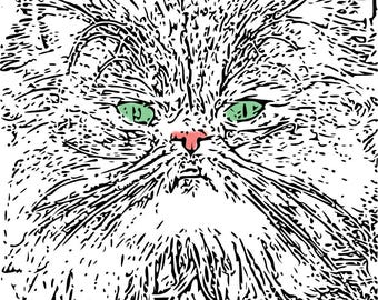 Adult Coloring PagesCat PagesInstant Download Printable ArtPrintable Pages For AdultsPersian Cat SvgArt Therapy