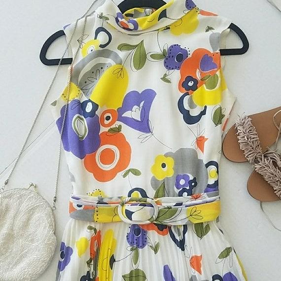 60s Flower Child Pleated Dress