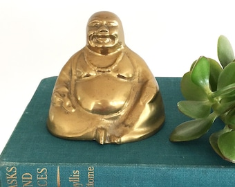 Vintage brass Buddha - Bohemian Boho Eclectic  Oriental Decor Style Home - Asia figure good luck buddha #1621
