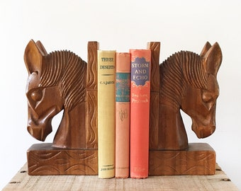 Pair Carved Wood Horse Bookends - hand carved animal book ends - Bohemian Boho Eclectic  Decor Style Home - wooden equestrian #1648
