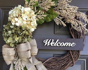 Bon My Best Seller  Hydrangea Front Door Wreath   Everyday Wreath With Accent    Welcome Wreath   Summer Wreath   Front Door Decor   Gift