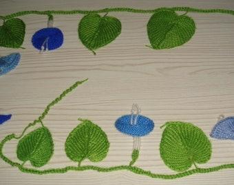 morning glory vine,trumpet flower,knitted plants,necklace,waist strap,wedding,boho,blue,white,red,green=MaryDengZF