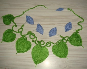 morning glory vine,trumpet flower,knitted plants,necklace,waist strap,wedding,boho-blue,purple,white,pink=MaryDengZF