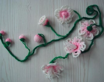 peach flower vine,knitted,plants,art  crochet,necklace,lariat,wedding, wreath,scarf, boho,white,=MaryDengZF