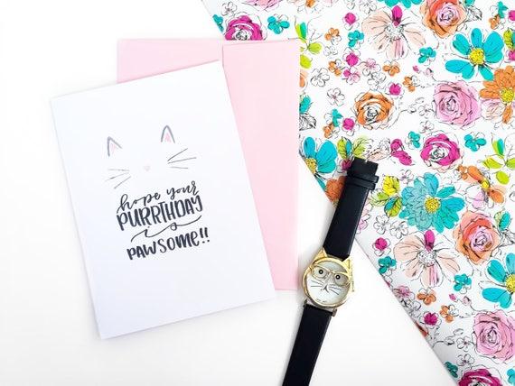 Happy Purrthday Cat Lady Birthday Card Pun