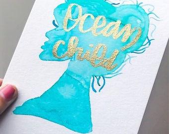 Ocean Child, Watercolor painting