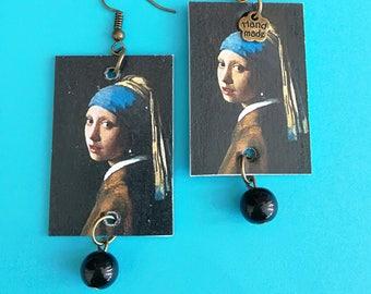 Pendant paper earrings painting Wermeer