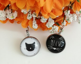 Cat earrings with cameo pendant in black and white