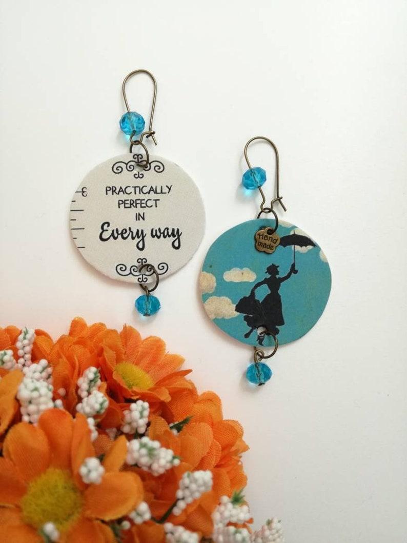 Mary Poppins orecchini di carta pendenti con ciondolo a  c80e5f1f9e5c