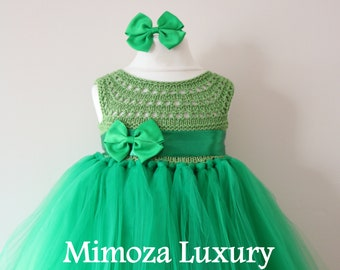 Green Birthday Dress, green birthday tutu dress, princess tutu dress, flower girl dress, infant girl dress, 1st birthday dress,emerald dress