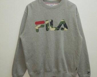 Vintage Sweatshirt Fila Big Logo design Army / Hip-hop/Japan/rare qS0ch