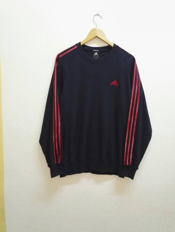 Vintage Adidas Sweatshirt RED Colour Logo Good Condition Used Hip hopJapanUSA (code 3)