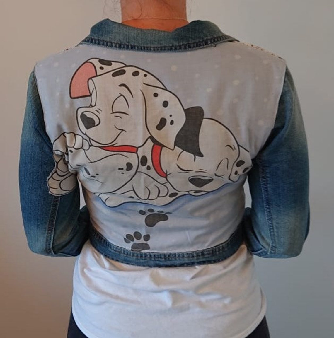 101 Dalmatians Cropped Denim Jacket. Up-cycled Jacket Using Vintage Fabric. Great Gift For A Disney Lover.