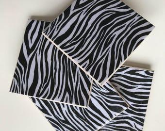 Zebra Land tile coasters