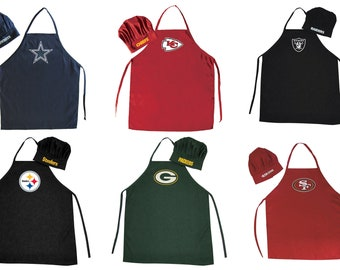 tailgater pocket sports Red and White Football Unisex Apron fan