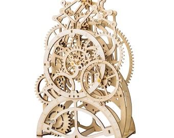 DIY 3D Wooden Mechanical Windup Model Puzzle - Pendulum Clock | Laser Cut
