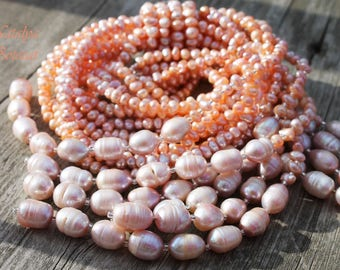Classic  Peach Many Strand Natural Freshwater Necklace | Romantic Wedding Jewelry | Gift For Women |  Necktie Vintage Inspired Long Necklace