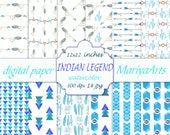 Digital Paper Pack, Seamless Paper, Native American, Backgrounds, Feathers, Аrrows, Boho, Hand Painted Watercolor, Digital Download