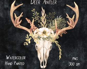 281e6ec95 Antlers & Field Flowers Clipart Bouquet Floral Watercolor Clipart Deer Skull  Rustic Woodland Wedding Clip Art Boho Flowers Hand Painted