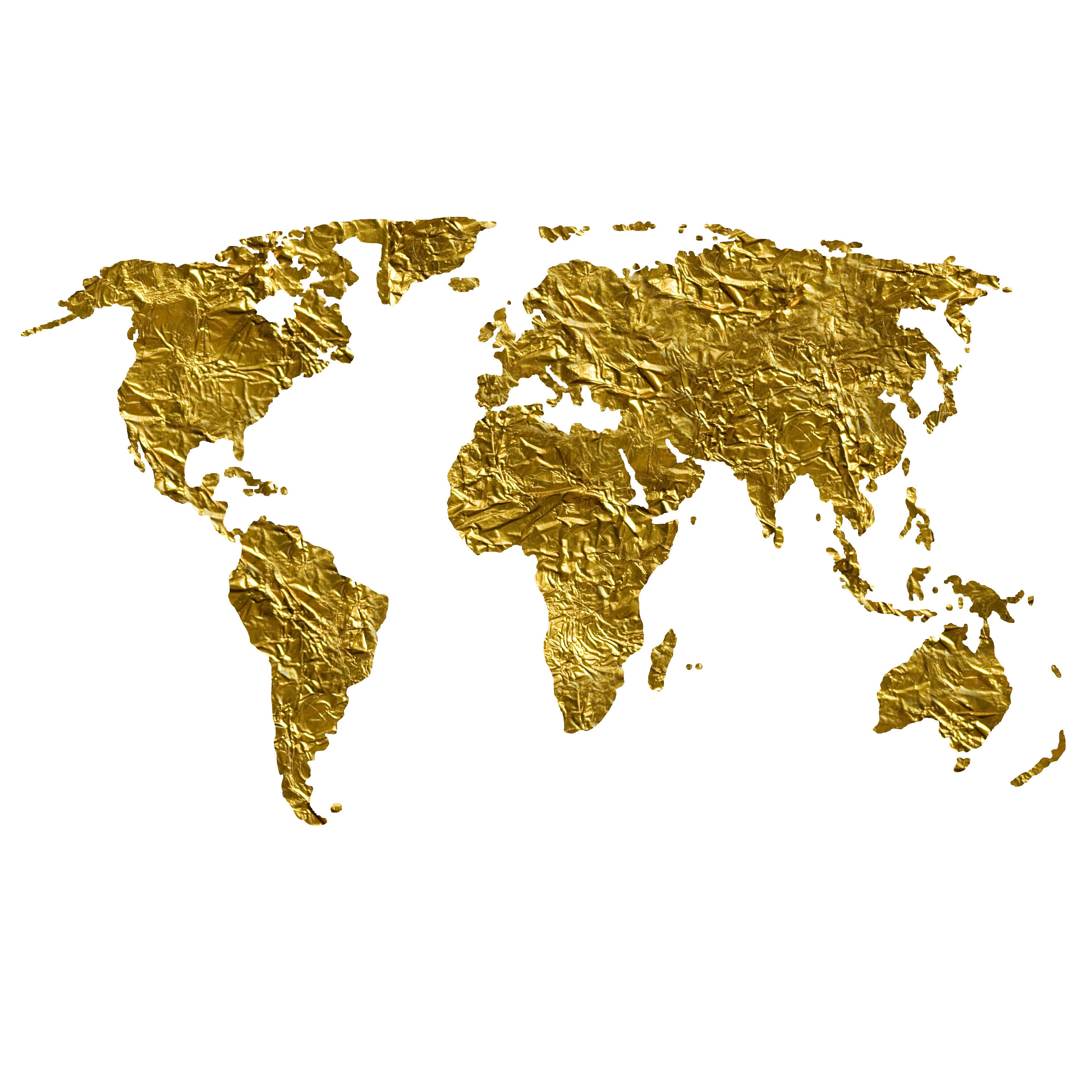 World Map Clip Art, Map of the World, Gold Foil, Shining Gold Art ...