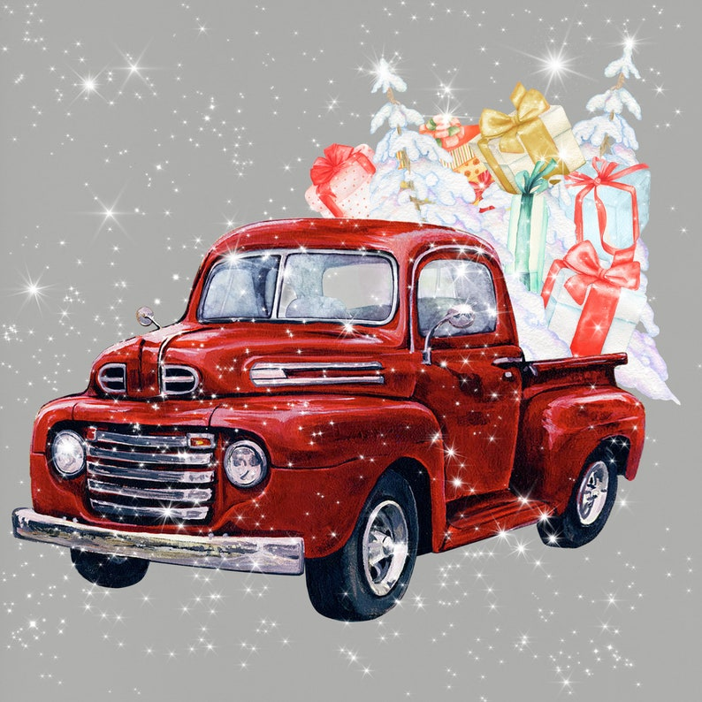 Holiday Gifts Box Pine Tree Watercolor Christmas Truck Old Turquoise Pickup Christmas tree Snow Vintage Red Truck Clipart Stardust
