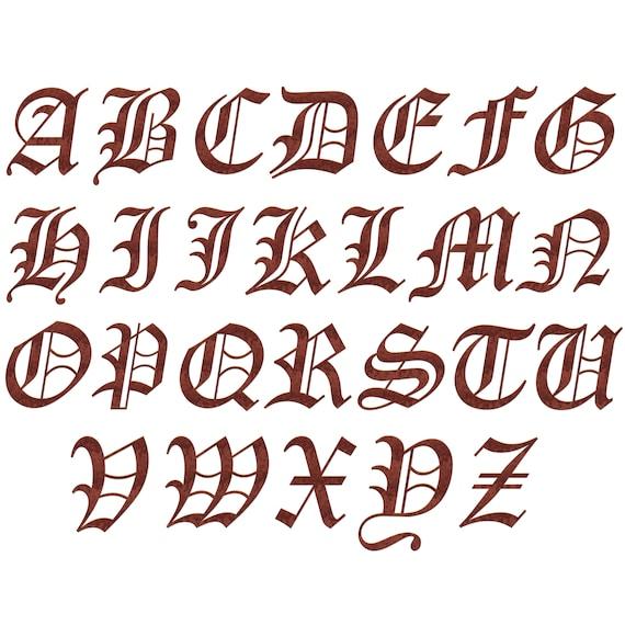 Old English Alphabet Clipart Alphabet Clip Art Stencil Old Etsy