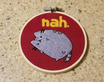 Pusheen cat embroidery hoop wall art