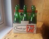 Vintage 7up quot Fresh Up quot Cardboard Six Pack Carrier w Vintage Swimmer Soda Bottles, 7 UP, Seven Up