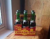 Vintage Terry The Pirates on TV Promo Canada Dry Cardboard Six Pack Carrier w Vintage Full Soda Bottles