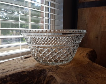 Vintage Anchor Hocking Wexford Glass Large Bowl, Serving Bowl, Punch Bowl
