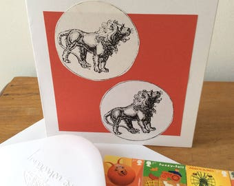 Twin Leo Zodiac Birthday Card (July 23rd - August 22nd)