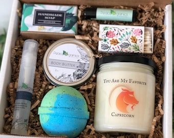 Capricorn Gift | January Birthday | December Gift Ideas | Mothers Day | Zodiac Candle | Natural Spa Box | Astrological Set | Mother's Day