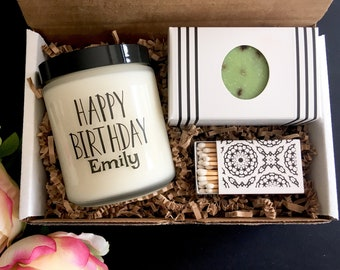 Happy Birthday Candle Soap Set Gift Box For Friend Sister Mom Best Girl