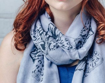 Grey Butterfly scarf