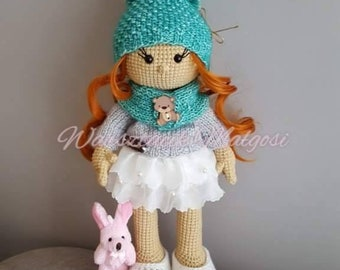 crochet doll amigurumi doll art doll ooak hanmade fabric doll magic gift for her gift toy yarn sweet hair textile crochet toy happy crochet