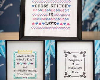 Your words here! Custom 8x10 sampler-style cross-stitch embroidery quotes (made-to-order, FRAME NOT INCLUDED)