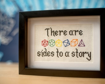 Dungeons and Dragons Cross-stitch pdf pattern - (dice ) sides to a story