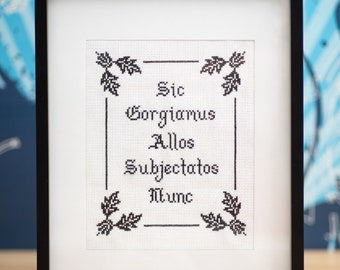 "Addams Family motto ""Sic Gorgiamus Allos Subjectatos Nunc"" cross-stitch pattern PDF"