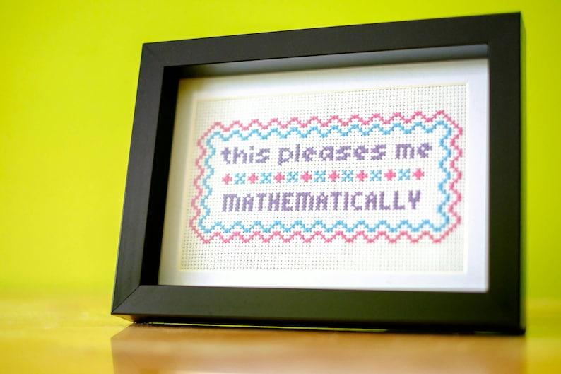 Math geek cross-stitch original handmade sampler this image 0