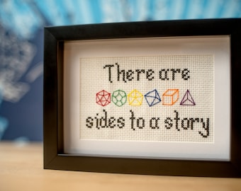 Many (dice) sides to a story Dungeons and Dragons theme cross-stitch (made-to-order)