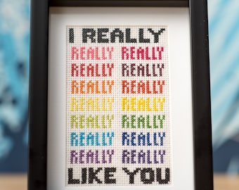 """Cute romantic """"I really like you"""" colorful rainbow cross-stitch embroidery (made-to-order)"""