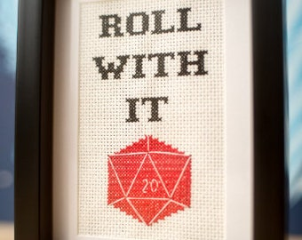 Roll With It D20 DIY cross-stitch kit, dnd Dungeons and dragons